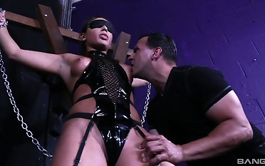 BDSM action connected with submissive Abella Danger whose tits realize sucked