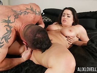Curvy chick is minutes from having her sloppy pussy interrupted