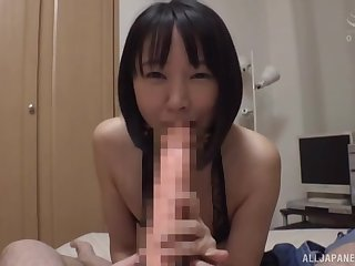 Japan cutie sucks dick and rides it in flawless POV