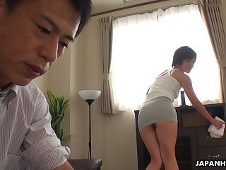 Asian maid teases her kingpin masterfully and then she gets his dick