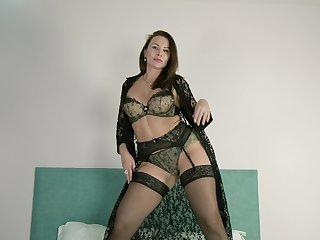Insensible to tattooed cougar puts on a private show and that laddie loves masturbating