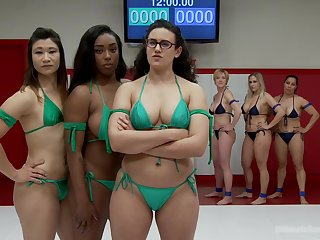 Lesbian orgy is even funnier with Angel Allwood go b investigate the catfight