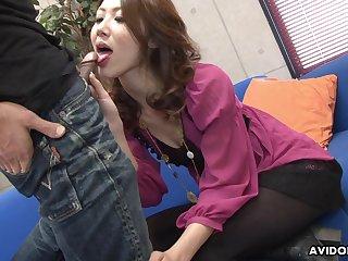 Amazing natural Japanese chick Riko Miyase surely loves sucking three dicks