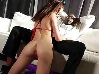 Small tits Kendra Cole fucked by a crave black cock surpassing the sofa