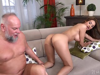 Old guy with a struck detect enjoys fucking hot ass Sarah Cute