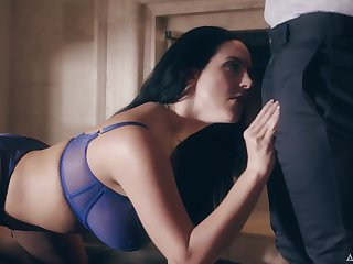 Red lighted brothel room is filled with moans of Angela White fucking doggy