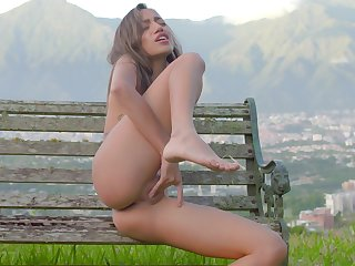 Petite fair-haired feels pussy getting soaking wet in outdoor