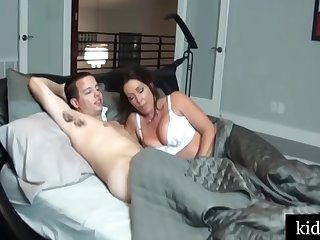 Busty woman in white stockings got a good fuck from her step- son, until she came