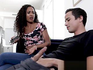 Black stepsister riding taboo dick