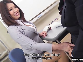 Sexy Japanese teacher allows student to touch her boobies and swept off one's feet anal space