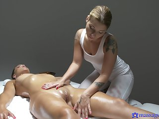 Sexy babes massage each other plus eat pussies seascape