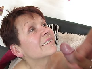 Impolite hair mature Emmi moans while getting fucked by a younger man