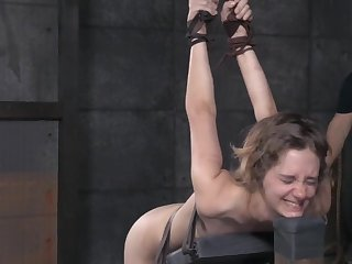 Skinny crude babe Mercy West cries during rough torture session