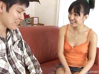 Hot Japanese amateur Nana Nanaumi gives a handjob and sucks