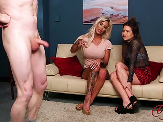 Dude jerks withdraw while Charlie Monaco and Maya Luna are watching
