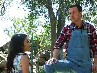 Outdoors gender in the local forest with sexy baby Adria Rae