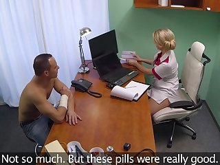 Fucking on the doctor's table with a sexy blonde nurse who craves for sex