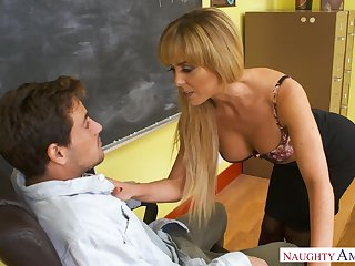 Sexy domineer college tutor in nylon stockings Cherie Deville is fucked exceeding the table