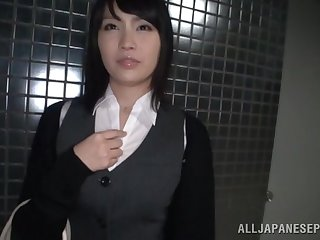 Blindfolded Japanese girl Satomi Nomiya gets pleasured with toys