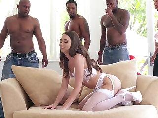Big cock, Double, Double penetration, Gangbang, Interracial, Lingerie, Stockings
