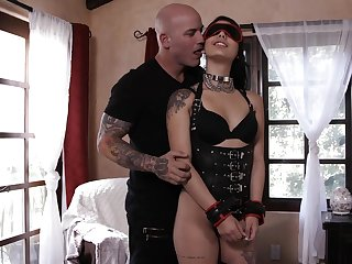 Brutal tattooed man fucks prex sexy babe in latex corset and knee boots